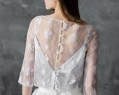 Lace wedding top separate, ivory lace top, elbow sleeves bridal cover up, bridal separates/ Only one size EU36/ Ready to ship!