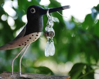 Aqua quartz Gemstone earrings Crystal Drop dangle earrings Sterling silver Boho earrings Custom Stone earrings Gemstone jewelry