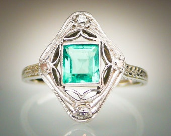 SALE Antique Art Deco ca 1925 Emerald Cut Emerald and Four Diamonds 18K White Gold Ring FREE SHIPPING