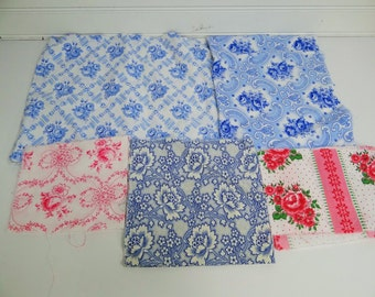 Vintage French Feed Sack Cloth Lot/French Feed Cloth/1930s-1940s/Set of 5