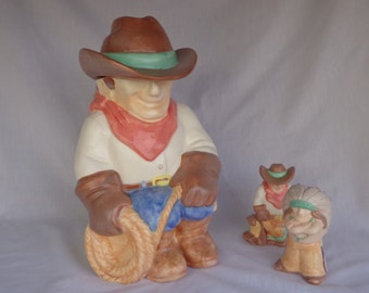 COOKIE JAR ~  Cowboy with  Salt and Pepper Cowboy and Indian;  Treasure Craft