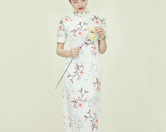 Modified Floral Silk Qipao Dress Lace Binding Two Color Choices