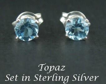 Blue Topaz Stud Earrings in Sterling Silver 4mm Settings