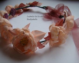 Wedding hair accessories, Bohemian hair wreath ,chiffon fabric flower,100% handmade.