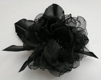 Handmade black chiffon flower brooch, flower clip and  pin