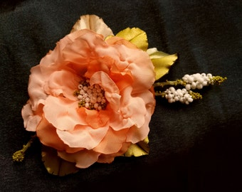 Brooch,wedding dress accessories, flower  pin, floral hairpiece, bridal dress accessory, peach puff color flower,100% handmade.