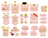 37 Pink Glitter Baby Shower Photo Booth Props - INSTANT DOWNLOAD - DIY Printable (Pdf)