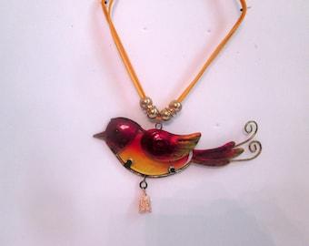BIRD NECKLACE, metal bird, summer necklace, spring necklace, stain glass necklace, ladies bird necklace, statement necklace, bold necklace