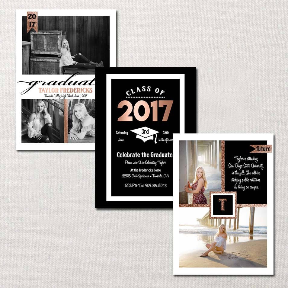 trifold graduation announcement invitation custom photo card showcases up to 6 personal photos - Tri Fold Graduation Invitations
