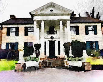 Watercolor Graceland Art Digital Photo
