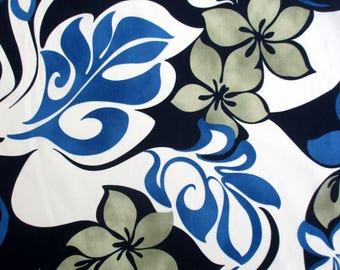 Fabric, Hawaiian Island Luau Leaves in Blue, Large Print Tropical Floral, By the Yard