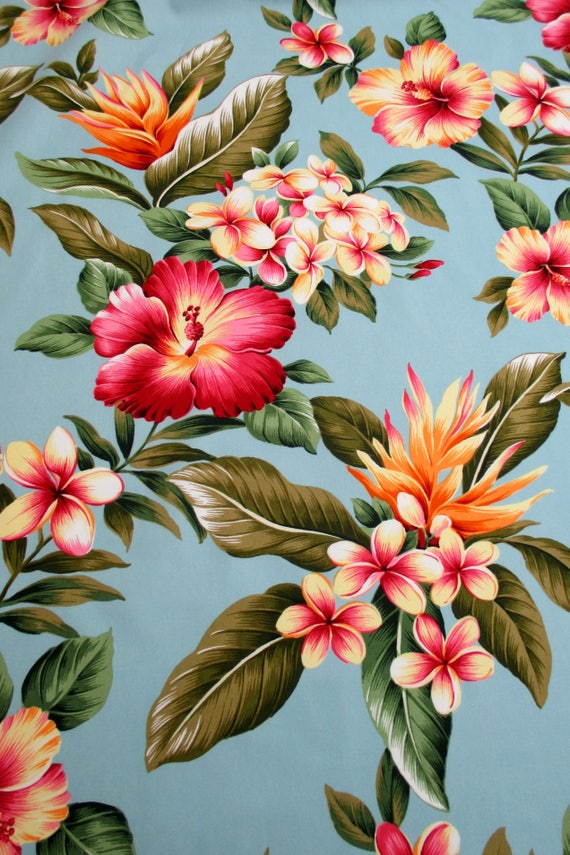 Fabric Hawaiian Flower Luau Pale Teal Tropical Floral