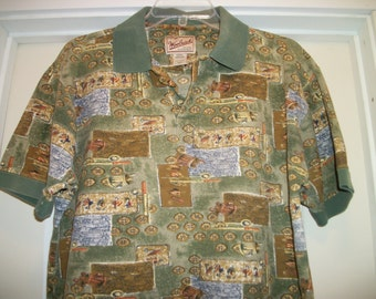 Retro 90s WOOLRICH OUTDOORS ITEMS Themed Woodsy Colors Polo Shirt, Mens Med