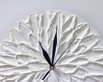 White wall clock  WHITE Clock White Flower unique home decor flower wall clock modern office decor Flower decor