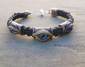 Evil eye bracelet,Macrame Bracelet with Evil Eyes