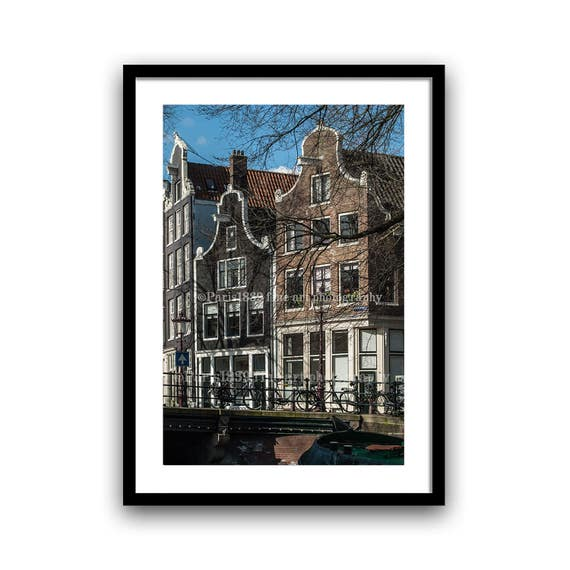 Amsterdam Photography, Canal Houses, Fine Art Print, Architecture Photograph, Rustic Wall Decor