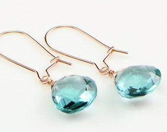 Aquamarine Drop Earrings on Rose Gold Filled Kidney Ear Wires