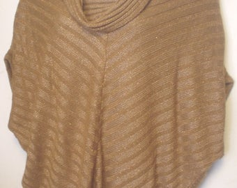 Vintage Worthington Size Large Pullover Sweater Copper Cowl Neck Chevron Dolman Sleeve Cover Career Casual Mix N Match Style Acrylic EC BIN