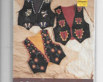 Puppy Bows ~ craft items FOLK ART felt vest kit pattern for appliques stitching