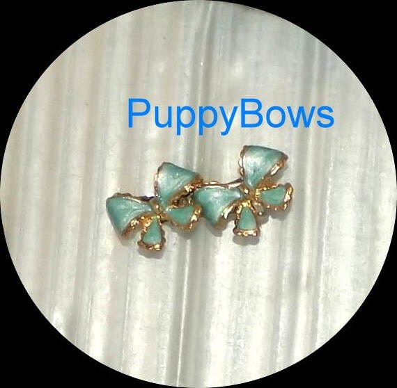 Puppy Bows ~TINY turquoise blue double gold edged dog bow  pet hair clip barrette