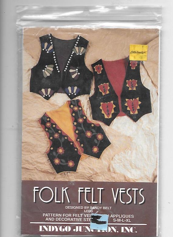 Puppy Bows ~ craft items FOLK ART felt vest kit pattern for appliques stitching