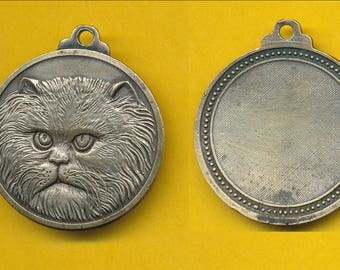 Art medal French bronze charm pendant medal representing Cat - Chat    (ref 0806)
