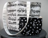 Bach Music Tote Bag with purse Handmade Book Bag Gift for Mothers Day Gift for Musician Lined Bag with Long Handles Present for Her
