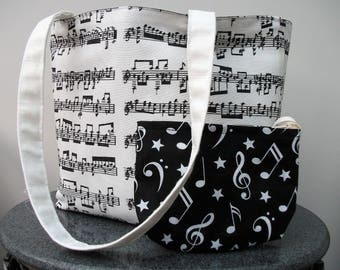 Bach Music Tote Bag with purse, Handmade Book Bag, Gift for Mother's Day, Gift for Musician, Lined Bag with Long Handles, Present for Her