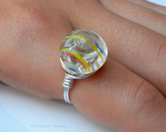 Repurposed Vintage Glass Button Sterling Silver Ring Marble Rainbow Primary Colors DR35