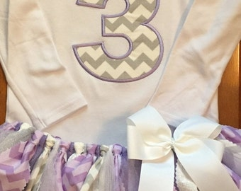 Lavender, Silver, and Grey Birthday Tutu Outfit