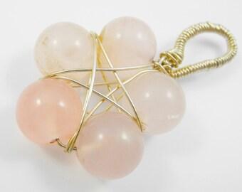 Witchcraft: Love - Rose Quartz Pendant, Gemstone Pendant, Pentagram, Pentacle, Wicca, magical Pendant, pink jewelry, gemstone jewelry