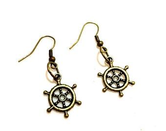 Ships Wheel Earrings, Nautical Earrings, Buy 2 Get 1 Pair Free, Small Earrings, Maritime Jewelry, Pirate Jewelry, Steering Helm