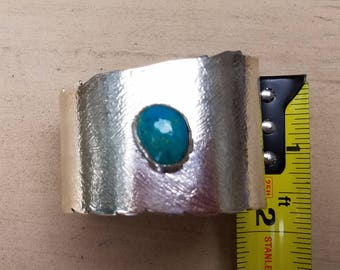 Sterling silver feather cuff with turquoise