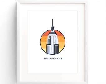 New York City - Empire State Building Sunset - NYC Building Illustration - New York Skyline - Gift - Poster Print - Wall Art Decor - 8x10
