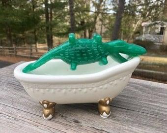 Nile Crocodile, Alligator Weight  2.8 Oz, Color Dark Green. Gift for Kids,Party Favor, Present For Children,Handmade Natural Soap.