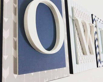Nursery letters,Boys Nursery Letters, Personalized wooden letters, Navy Nursery Letters, Wood letter, Custom nursery letters, Wooden Letters
