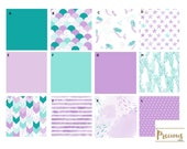 Purple and Teal Mermaids Crib Bedding - Baby Girl Bedding - Premium Custom Crib Bedding