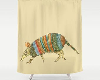 armadillo shower curtain turquoise terracotta olive green art for bathroom