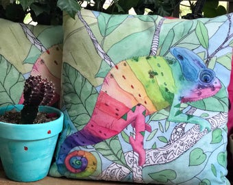 Outdoor Throw Pillow, Chameleon,  Artistic Illustration,  Outdoor decor, patio pillows, cushions, garden, poolside, lounge, tropical rainbow