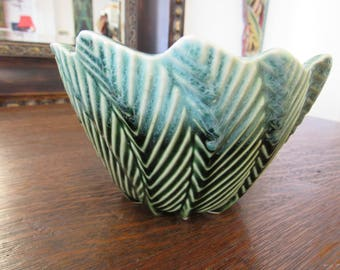 Unusual MCM Green Pottery Planter USA