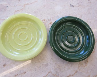 Vintage Colorful Milk Glass Coasters Set of 2