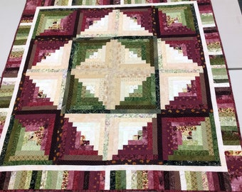 Maroon Quilted Throw, Heart-Themed Gift for Mom, Bright Quilt Decor, Scrappy Log Cabin Sofa Quilt, Wedding Gift, Quiltsy Handmade