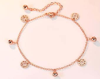 Temperament, fashion, contracted, COINS, bells, rose gold chains, 18 k Mosaic gold plating, jewelry gifts