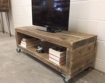 Rustic Solid Reclaimed Wood TV Multi Media Stand Unit