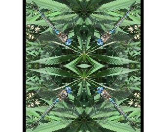 Fleece Blanket: Marijuana Blanket in Super Goo Blue Marijuana Print, Bed Blanket, Cannabis Blanket- MADE TO ORDER