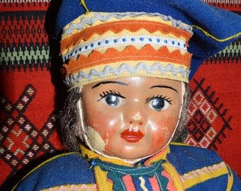 Antique Saami Doll. Lapland doll from old side of Finland, Salla- Kuolajärvi. Vintage Lapland doll from 1940-50's
