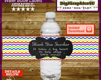 Thank You Teacher Appreciation Gift Printable Water Bottle Labels - Instant Download