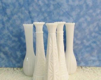 Vintage Milk Glass Bud Vase Lot, Instant Bud Vase Collection, Wedding Milk Glass Bud Vases