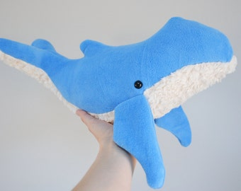 Humpback Whale Marine blue Plush Furry belly Large *Personalize it!