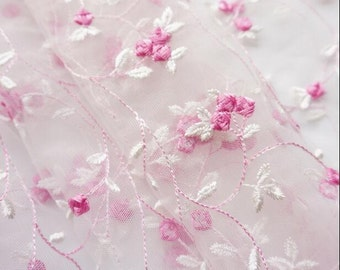 1 yard Lace Fabric Ivory Tulle Rose Red Floral Embroidery Wedding Dress 51 inch width